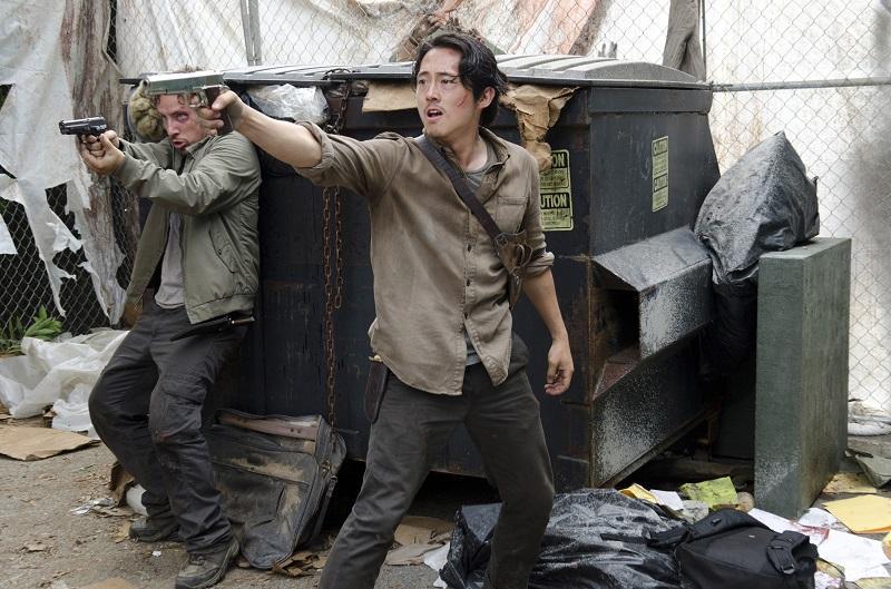 Michael Traynor as Nicholas and Steven Yeun as Glenn Rhee - The Walking Dead _ Season 6, Episode 3 - Photo Credit: Gene Page/AMC